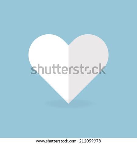 white heart, flat design - stock vector