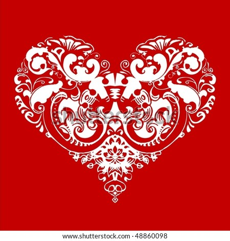 White heart on a red background. Pinstripes are fill the heart and emphasize its contour too.