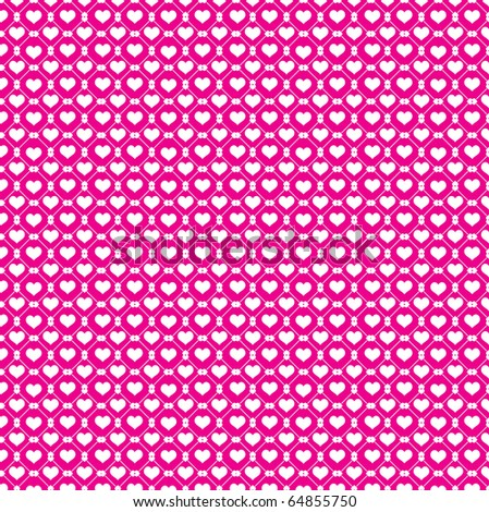 White hearts and pink background - stock vector