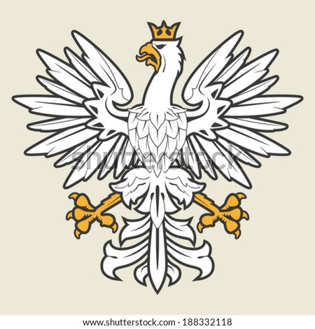 White heraldic eagle with crown - stock vector