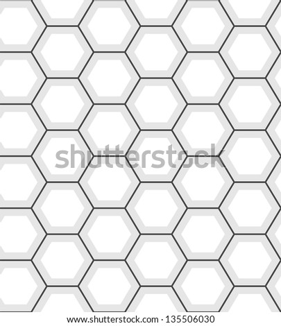 White hexagon abstract geometric seamless pattern, vector - stock vector