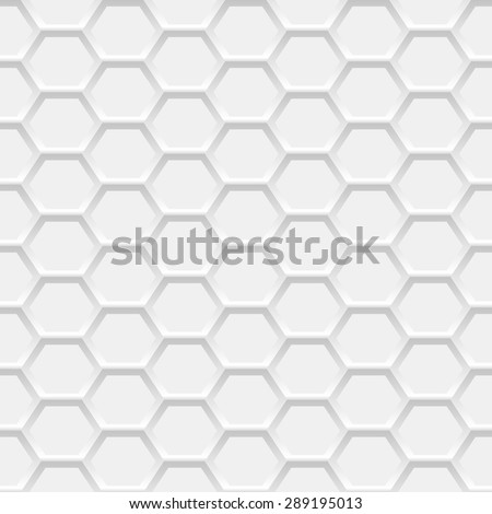 White hexagonal grid background. Seamless honeycomb pattern. Vector illustration
