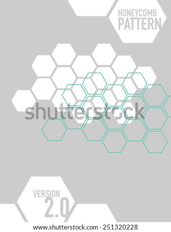 White honey comb pattern over gray background - stock vector