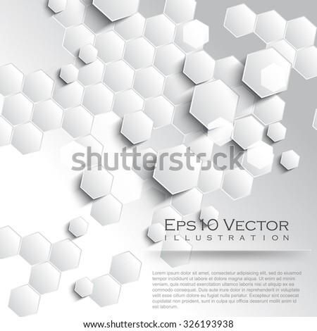 white honeycomb pattern elements leaflet background illustration - stock vector
