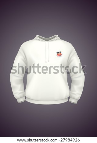 White hoodie design template with badge. VECTOR, contains gradient mesh elements. More clothing designs in my portfolio! - stock vector