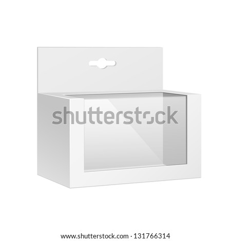 White Horizontal Product Package Box With Window. Blank On White Background Isolated. Ready For Your Design. Product Packing Vector EPS10 - stock vector