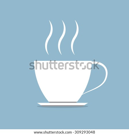 white hot coffee cup with stream vector illustration