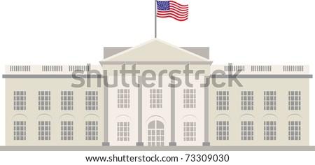 White House in Washington DC, vector - stock vector