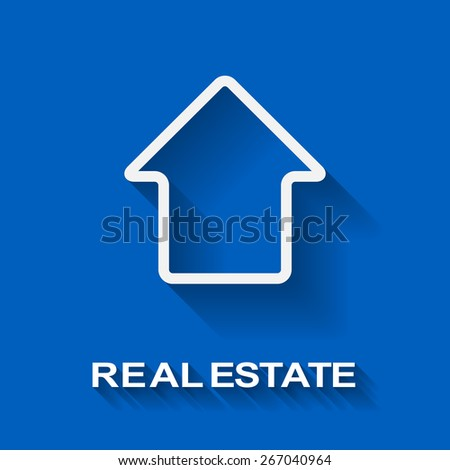 White house shape real estate vector template with copy space. - stock vector