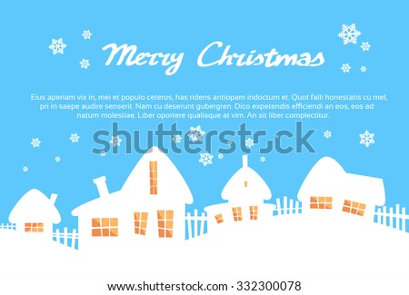 White House Village Silhouettes Yellow Window Light Blue Sky Merry Christmas New Year Card Flat Vector Illustration - stock vector