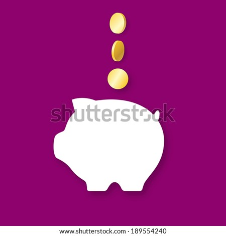 White icon of money-box with three golden coins on violet background - stock vector