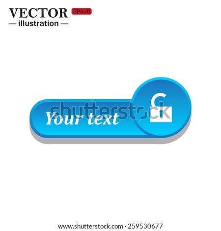 White icon on the blue button for websites. White background with shadow. Your text. open lock, vector, EPS 10