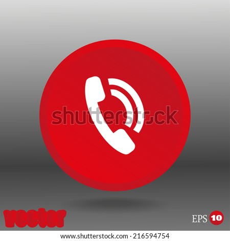 White icon on the red button - stock vector