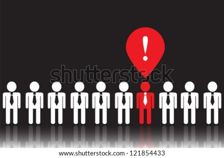 white icons people in ties on a black background. One of people  has a bright idea. it is red