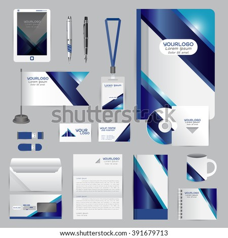 White identity template blue origami elements stock vector hd white identity template with blue origami elements vector company style for brandbook guideline and pens spiritdancerdesigns Image collections