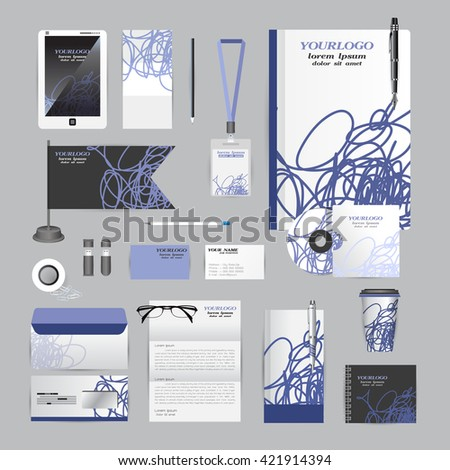 White identity template with blue scribble elements. Vector company style for brandbook guideline and Pens mugs CDs books business cards letterhead flag Card Portfolio employees Tablet - stock vector