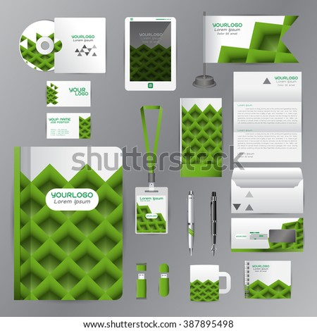 White identity template with green origami elements. Vector company style for brandbook guideline and Pens mugs CDs books business cards letterhead flag Card Portfolio employees Tablet - stock vector