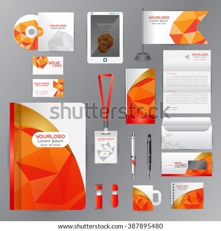 White identity template with Orange origami elements. Vector company style for brandbook guideline and Pens mugs CDs books business cards letterhead flag Card Portfolio employees Tablet  - stock vector