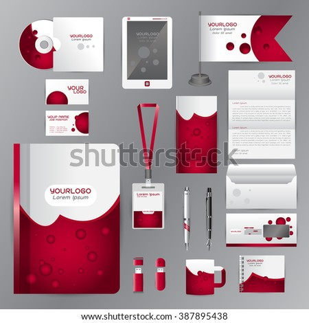 White identity template with red origami elements. Vector company style for brandbook guideline and Pens mugs CDs books business cards letterhead flag Card Portfolio employees Tablet  - stock vector