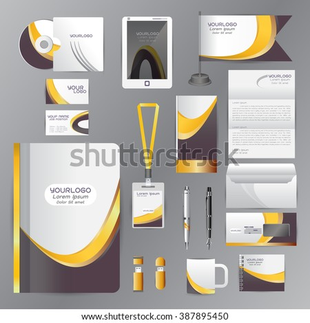 White identity template with Yellow Black origami elements. Vector company style for brandbook guideline and Pens mugs CDs books business cards letterhead flag Card Portfolio employees Tablet  - stock vector