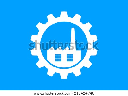 White industrial icon on blue background - stock vector