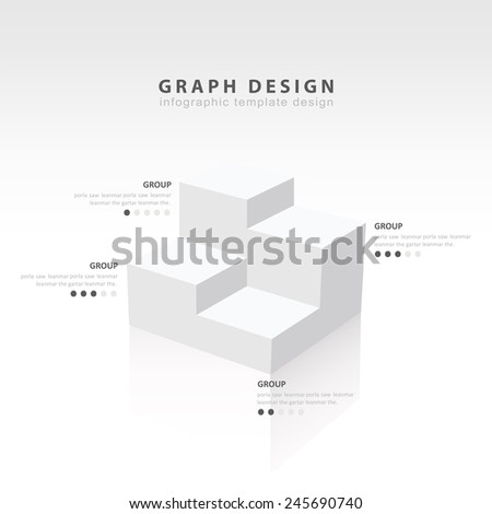 White infographic 3d Graph template Vector illustration of cubes