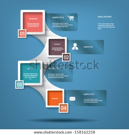 White infographic elements with various icons suitable for infographics, web layout, presentations, brochures, etc. - stock vector
