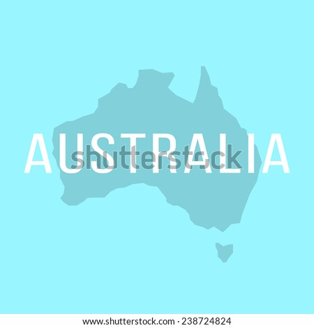 white inscription on silhouette of Australia. concept of world tour, international tourism and invitation travelers. isolated on stylish background. trendy modern design vector illustration - stock vector