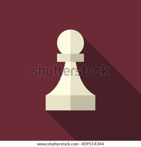 White ivory chess pawn with long shadow on dark red background. Flat style icon. Sport, game, strategy and competition concept. EPS 8 vector illustration, no transparency - stock vector