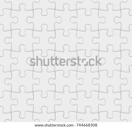 White jigsaw puzzle. Blank seamless background. Vector illustration