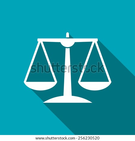 White Justice scale icon on blue background - stock vector