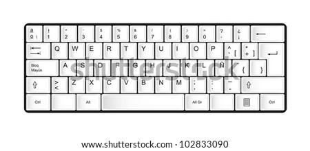 white keyboard isolated over white background. vector illustration - stock vector
