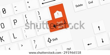 white keyboard with red send spam key and envelope - stock vector