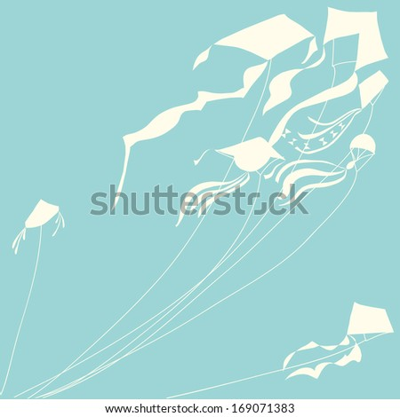 White kites blue sky. Vector illustration.