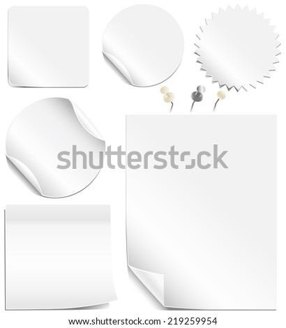 White Labels and Pages - Collection of blank labels and pages with peeling corners.  Realistic white and silver thumbtacks also included.  Each element is grouped individually for easy editing. - stock vector