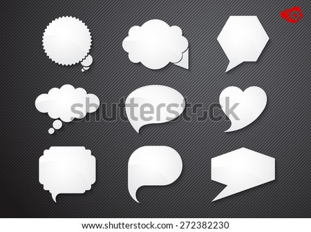 White labels in different shapes on a black background