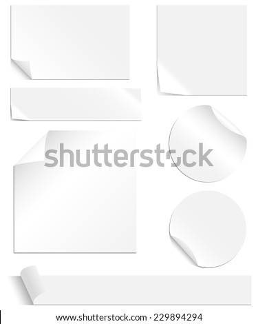 White Labels Set - Collection of blank labels with peeling and creased corners. Each element is grouped individually for easy editing. Colors are global swatches, so they can be changed easily. - stock vector