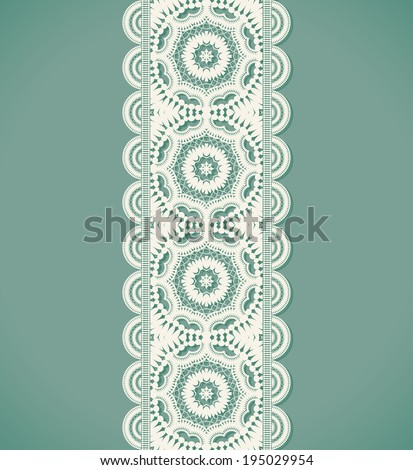 White lace endless ribbon. Vector illustration - stock vector