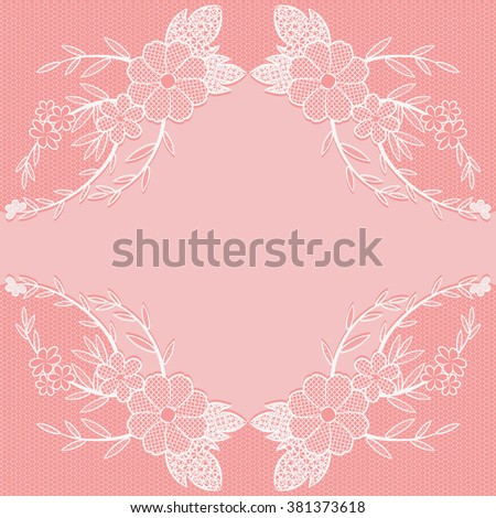 White lace frame on a pink background. It can be used as a seamless pattern. Vector illustration.