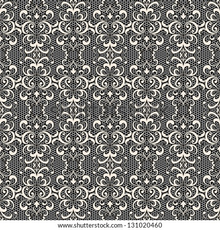 White lace on black, seamless vector pattern - stock vector