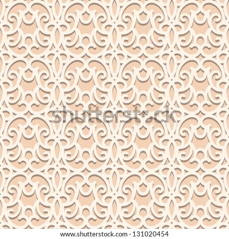 White lace seamless pattern, lacy vector texture - stock vector