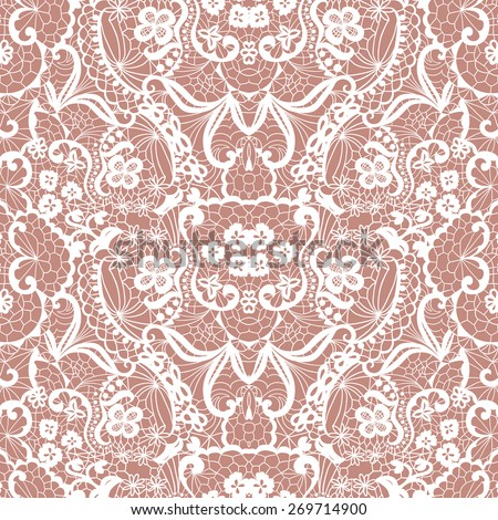 White lace seamless pattern with flowers on beige background - stock vector