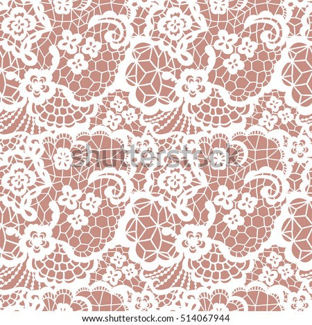 White lace seamless pattern with flowers on beige background