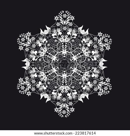 white lace snowflake or flower on black backround - stock vector