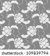 White lace vector fabric seamless  pattern with flowers - stock vector