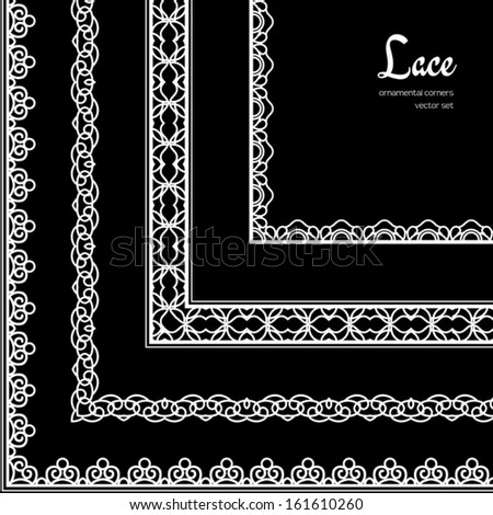 White lace, vector set of ornamental corner elements on black background - stock vector