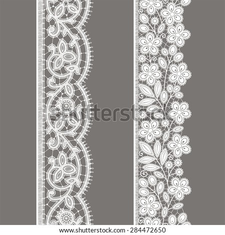 White Lace. Vertical Ribbon. Floral Seamless Pattern. Gray Background. - stock vector