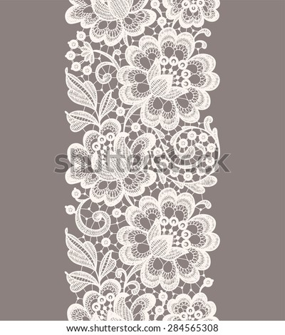 White Lace. Vertical Seamless Pattern. Beige Background. - stock vector