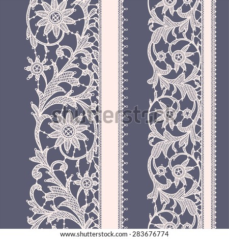 White Lace. Violet Seamless Pattern. - stock vector