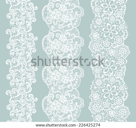 White lacy vintage elegant trim. Vector illustration. - stock vector